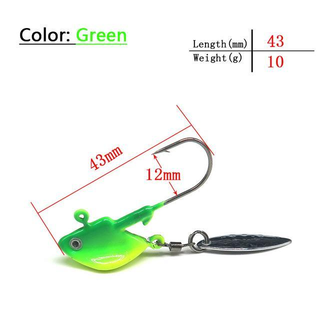 3Pcs/Lot Green Jig Head Spinner Bait With Very Sharp Fishing Hook Spoon Lure-Panfish Jigs-Bargain Bait Box-10g-Bargain Bait Box