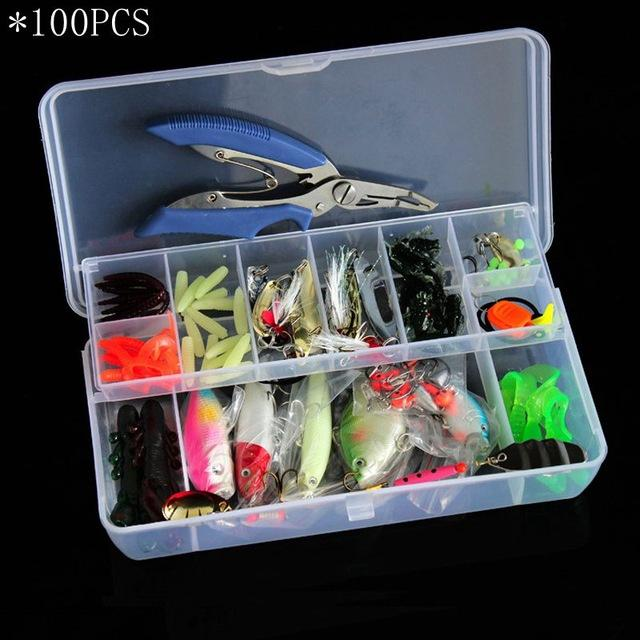 4 Styles Fishing Minnow/Popper/ Spoon Metal Soft Kit /Style/Weight-Mixed Combos & Kits-Bargain Bait Box-100PCS-Bargain Bait Box