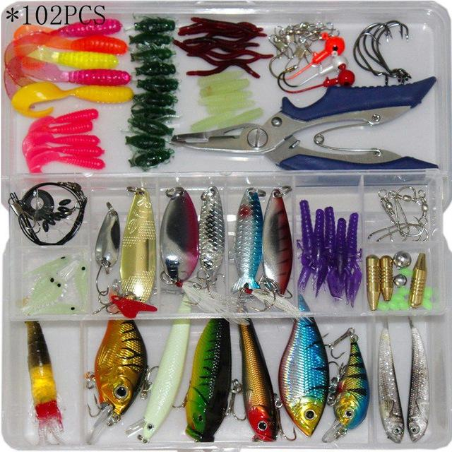4 Styles Fishing Minnow/Popper/ Spoon Metal Soft Kit /Style/Weight-Mixed Combos & Kits-Bargain Bait Box-102PCS-Bargain Bait Box