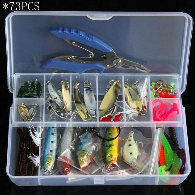4 Styles Fishing Minnow/Popper/ Spoon Metal Soft Kit /Style/Weight-Mixed Combos & Kits-Bargain Bait Box-73PCS-Bargain Bait Box
