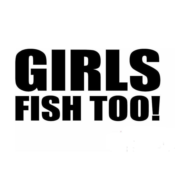 40 Pcs/Lot 20Cm X 10Cm Girls Fish Too Fishing Funny Car Sticker For Truck Window-Fishing Decals-Bargain Bait Box-Black-Bargain Bait Box