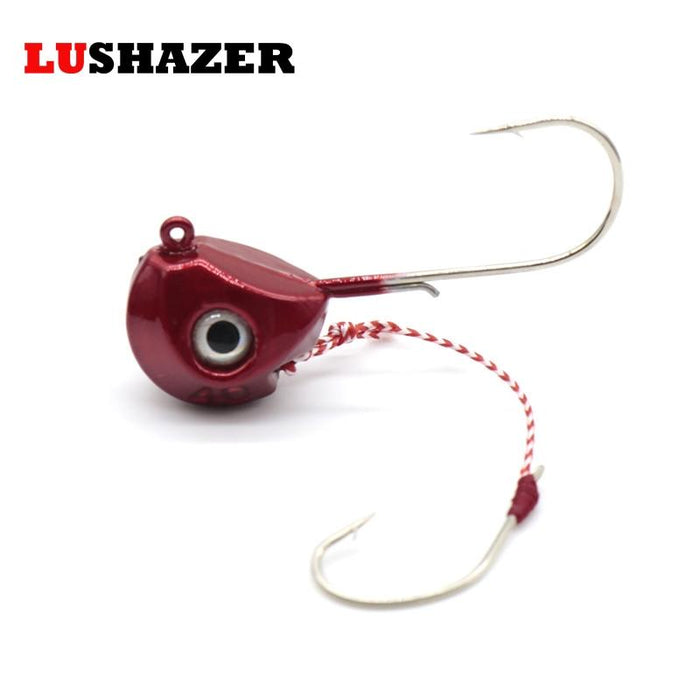 40G 60G 80G 100G Single Boat Lead Head Jig Lures Hand Spinner Hook-Roundhead & Specialty Jigs-Bargain Bait Box-40g red-Bargain Bait Box