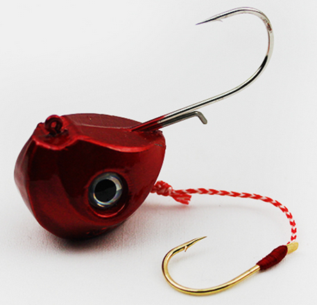40G 60G 80G 100G Single Boat Lead Head Jig Lures Hand Spinner Hook-Roundhead & Specialty Jigs-Bargain Bait Box-60g red-Bargain Bait Box