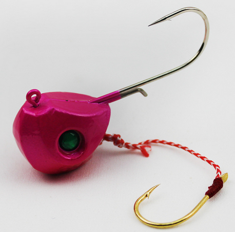 40G 60G 80G 100G Single Boat Lead Head Jig Lures Hand Spinner Hook-Roundhead & Specialty Jigs-Bargain Bait Box-80g pink-Bargain Bait Box