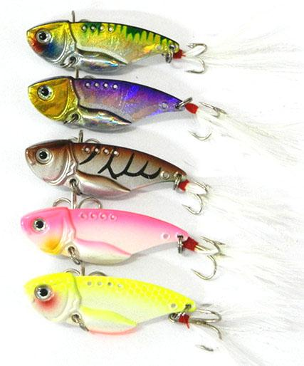 40Pcs Vib Metal With Feather Hook Bream Bass Flathead 5.5Cm 2.17Inch 12G-Blade Baits-Bargain Bait Box-Bargain Bait Box