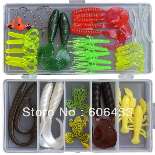 42Pcs Soft Jig Head Hook Fishing Bait Box Set-Jig Kits-Bargain Bait Box-Bargain Bait Box