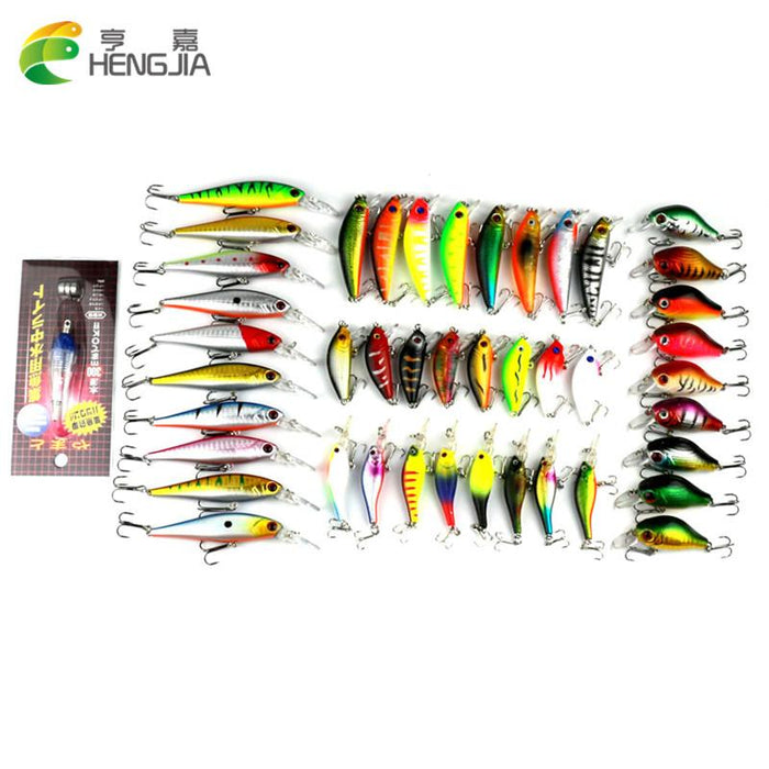 44Pcs/Lot 6 Models Baits Aritificial Fishing Minnow Lures Fishing Light-Hard Bait Kits-Bargain Bait Box-Bargain Bait Box