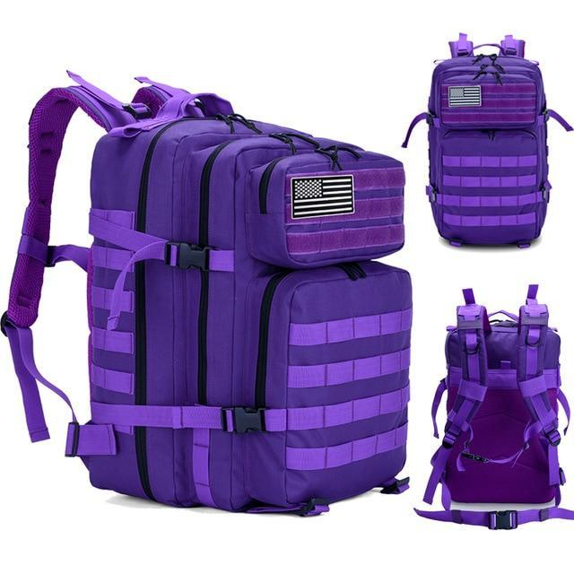 45L Man/Women Hiking Trekking Bag Military Tactical Backpack Army Waterproof-Climbing Bags-Outdoor Explorer Club Store-Purple-China-Bargain Bait Box