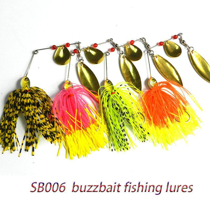 4Pcs 14.8G 0.522Oz Spinner Spoon Buzzbait Metal Lead Head Musky Fishing Baits-Spinnerbaits-Bargain Bait Box-Bargain Bait Box