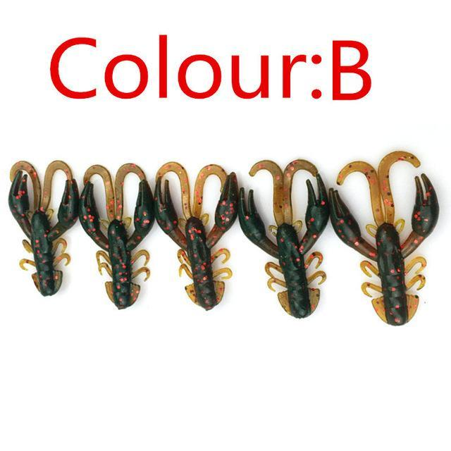 5 Pcs/Lot Soft Baits Fishing Soft Jig Swivel Rubber Worms Salt Smell Soft Shrimp-Craws-Bargain Bait Box-B-Bargain Bait Box