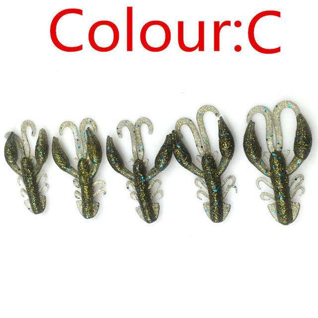 5 Pcs/Lot Soft Baits Fishing Soft Jig Swivel Rubber Worms Salt Smell Soft Shrimp-Craws-Bargain Bait Box-C-Bargain Bait Box