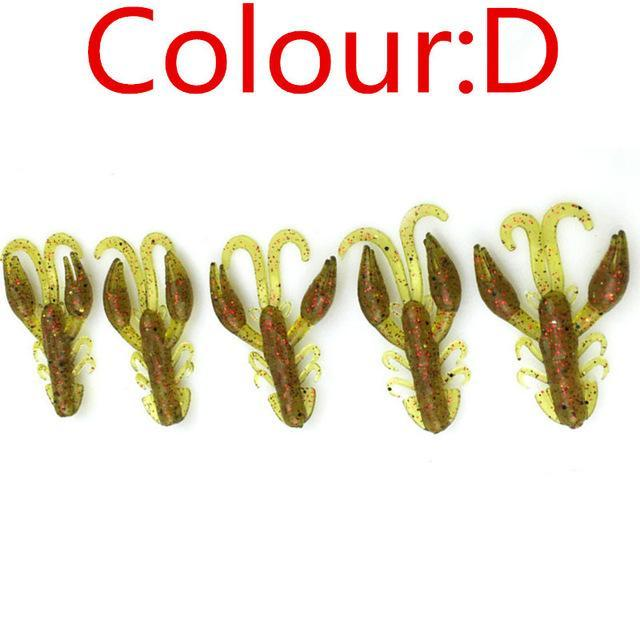 5 Pcs/Lot Soft Baits Fishing Soft Jig Swivel Rubber Worms Salt Smell Soft Shrimp-Craws-Bargain Bait Box-D-Bargain Bait Box