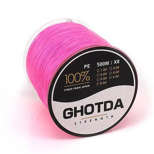 500M 8 Strands Fishing Line Multifilament Pe Line 8 Weaves Strong Braided Wire-HD Outdoor Equipment Store-Pink-1.0-Bargain Bait Box