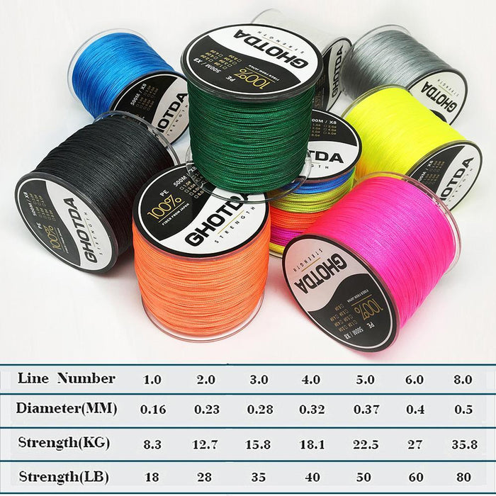 500M 8 Strands Fishing Line Multifilament Pe Line 8 Weaves Strong Braided Wire-HD Outdoor Equipment Store-Yellow-1.0-Bargain Bait Box