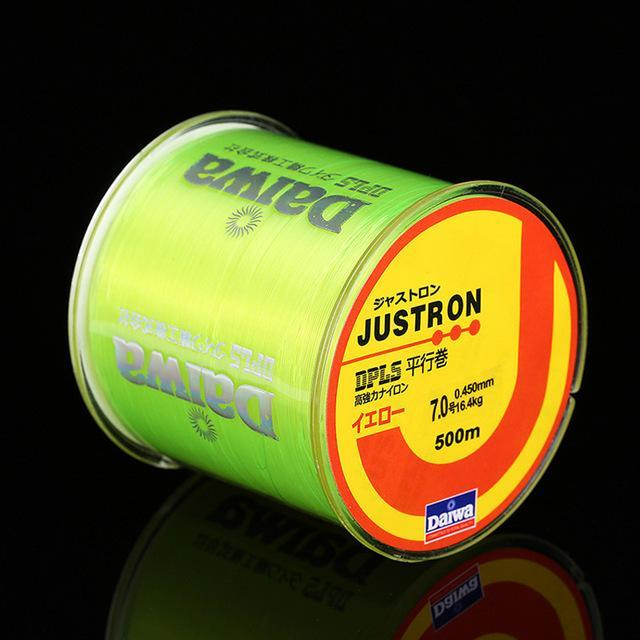 500M Super Strong Daiwa Justron Nylon Fishing Line 2Lb - 40Lb 7 Colors Japan-Z&X Outdoors Store-Yellow-0.4-Bargain Bait Box