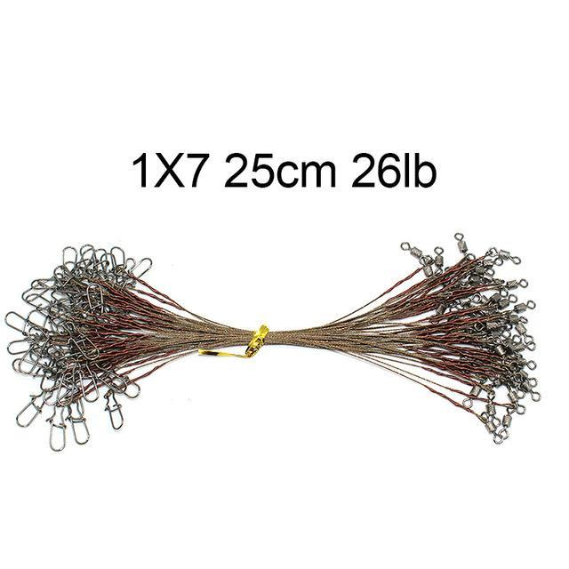 50Pcs Brown Uncoated Stainless Steel Fishing Line Wire Leaders 15Cm 20Cm 25Cm-shaddock fishing Official Store-1X7 25cm 26lb-Bargain Bait Box