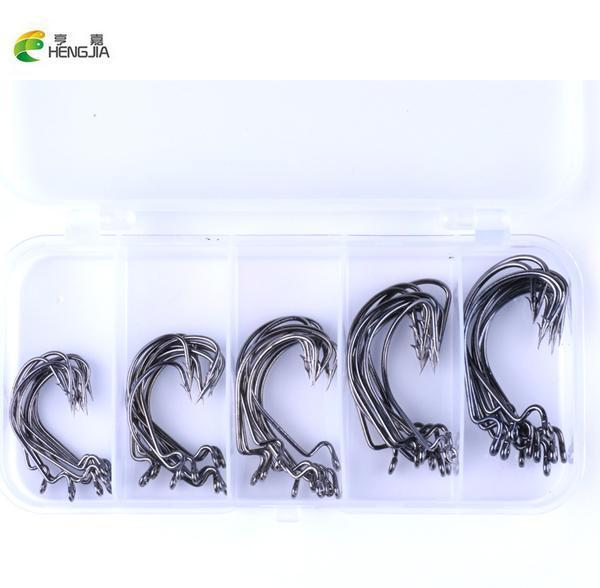 50Pcs Carbon Steel Crank Hooks Set 5 Size 1# 2# 1/0# 2/0# 3/0# Soft Bait Fish-Hook Kits-Bargain Bait Box-Bargain Bait Box