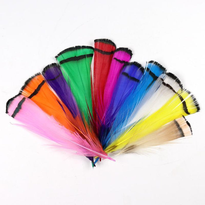 [50Pcs] Lady Amherst Tippet Feather Natural White Red Yellow Pink Purple Green-Fly Tying Materials-Bargain Bait Box-Natural Color-Bargain Bait Box