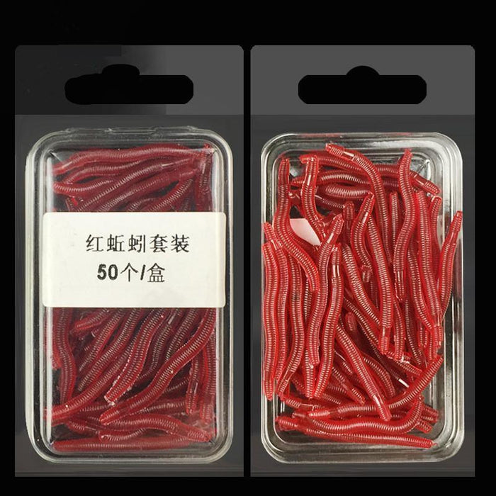 50Pcs/Box Artificial Earthworm Fishing Lure Blood Worm Maggot Soft Bait River-FIZZ Official Store-Bargain Bait Box