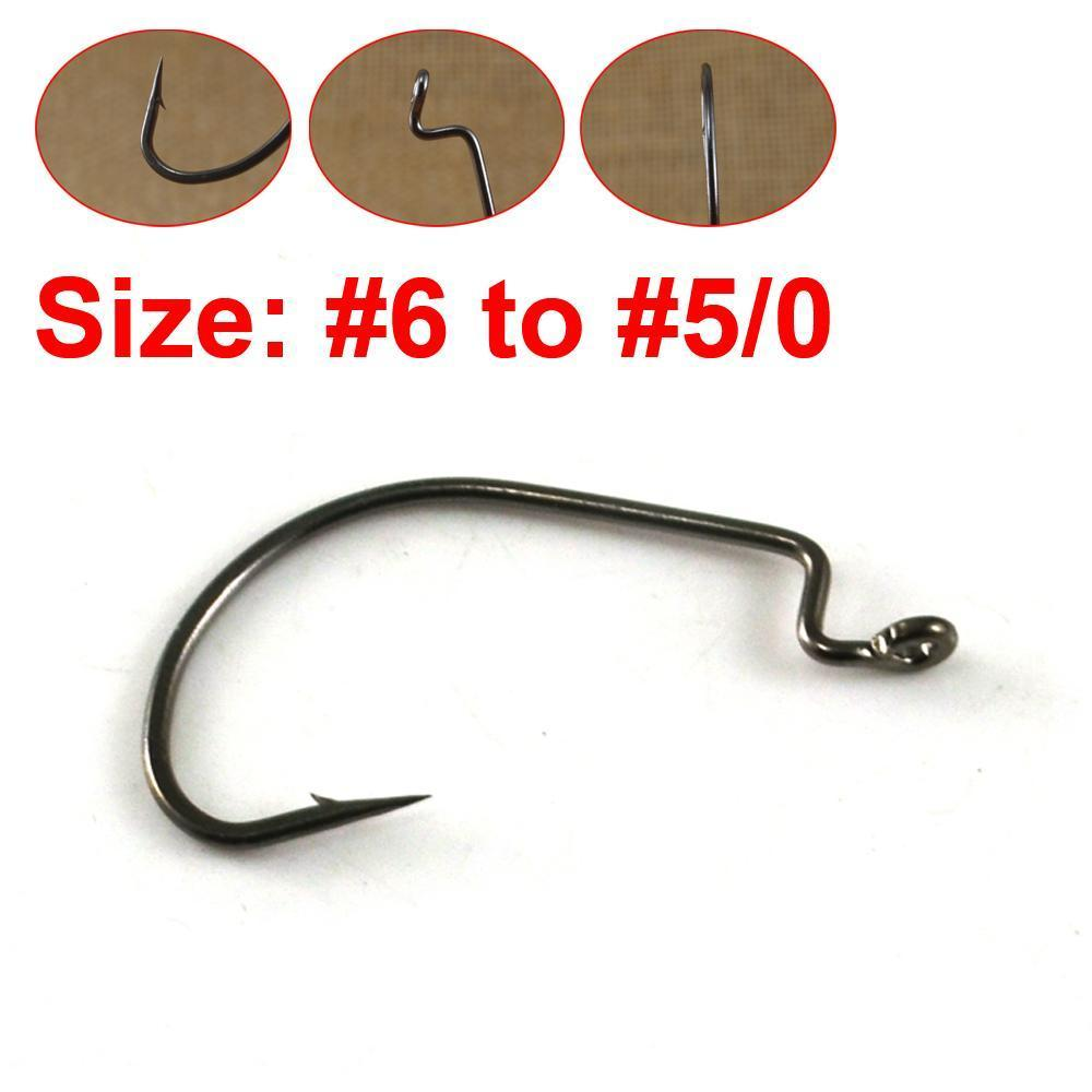 50pcs//Box Offset Worm Hook Carbon Steel Wide Gap Jig For Soft Lure Fishing Hook