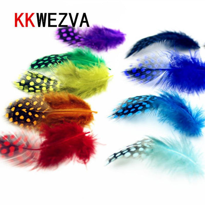 50Pcs/Lot S Combo Guinea Pearl Hen Feather Hackle Fly Tying Material 10 Colors-Fly Tying Materials-Bargain Bait Box-Bargain Bait Box