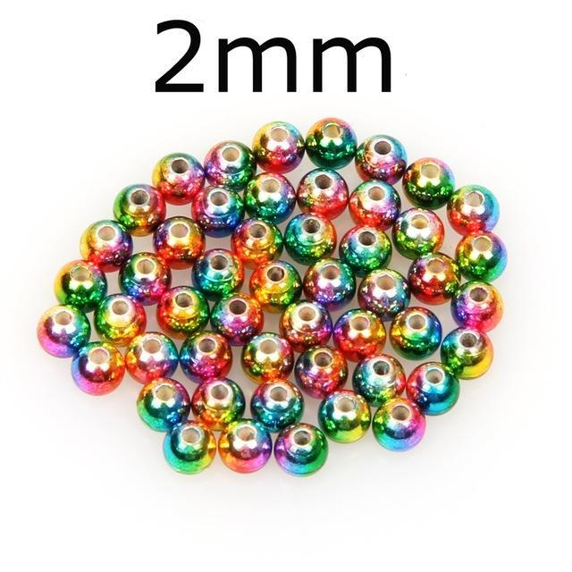 50Pcs/Lot Tungsten Fly Tying Beads Red Green Rainbow Fly Fishing Nymph Head Ball-AnglerDream Store-20C-Bargain Bait Box