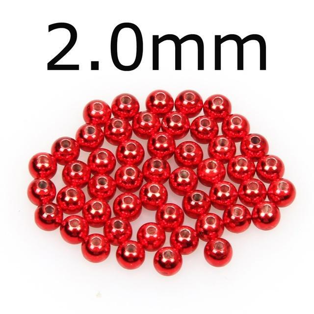 50Pcs/Lot Tungsten Fly Tying Beads Red Green Rainbow Fly Fishing Nymph Head Ball-AnglerDream Store-20R-Bargain Bait Box