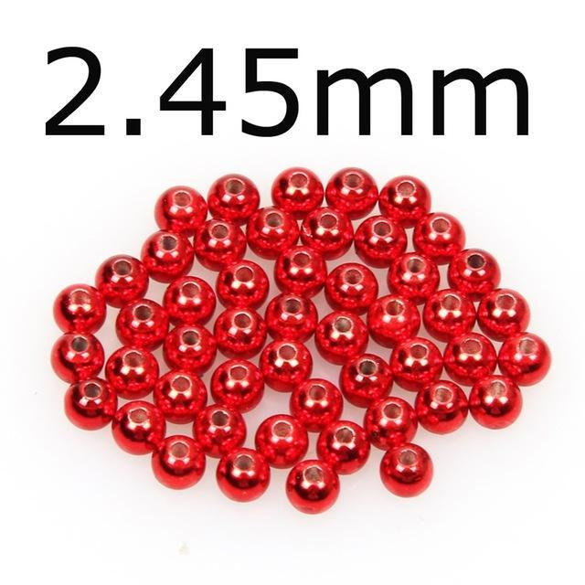 50Pcs/Lot Tungsten Fly Tying Beads Red Green Rainbow Fly Fishing Nymph Head Ball-AnglerDream Store-245C-Bargain Bait Box