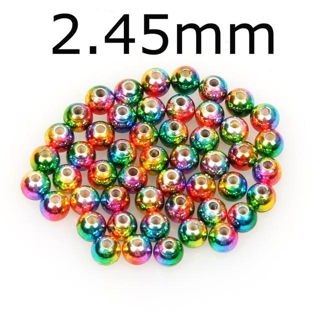 50Pcs/Lot Tungsten Fly Tying Beads Red Green Rainbow Fly Fishing Nymph Head Ball-AnglerDream Store-245R-Bargain Bait Box