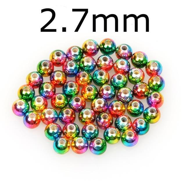 50Pcs/Lot Tungsten Fly Tying Beads Red Green Rainbow Fly Fishing Nymph Head Ball-AnglerDream Store-27C-Bargain Bait Box