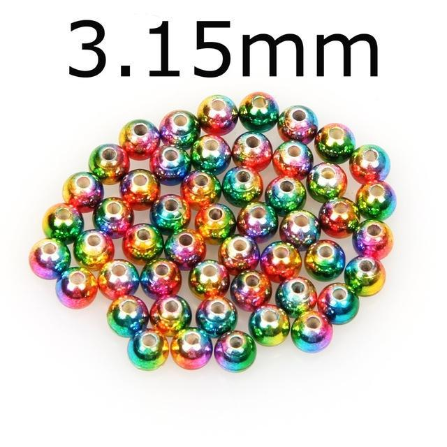 50Pcs/Lot Tungsten Fly Tying Beads Red Green Rainbow Fly Fishing Nymph Head Ball-AnglerDream Store-315C-Bargain Bait Box