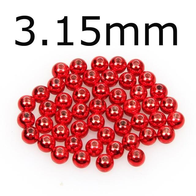 50Pcs/Lot Tungsten Fly Tying Beads Red Green Rainbow Fly Fishing Nymph Head Ball-AnglerDream Store-315R-Bargain Bait Box