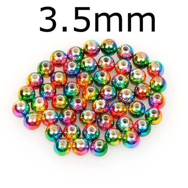 50Pcs/Lot Tungsten Fly Tying Beads Red Green Rainbow Fly Fishing Nymph Head Ball-AnglerDream Store-35C-Bargain Bait Box