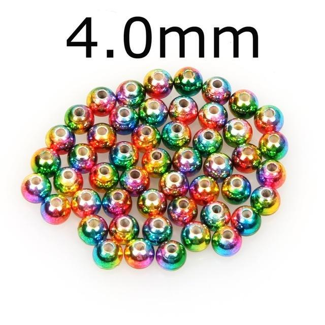 50Pcs/Lot Tungsten Fly Tying Beads Red Green Rainbow Fly Fishing Nymph Head Ball-AnglerDream Store-40C-Bargain Bait Box