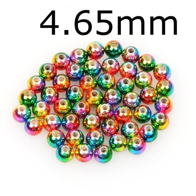 50Pcs/Lot Tungsten Fly Tying Beads Red Green Rainbow Fly Fishing Nymph Head Ball-AnglerDream Store-465C-Bargain Bait Box