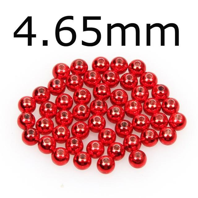 50Pcs/Lot Tungsten Fly Tying Beads Red Green Rainbow Fly Fishing Nymph Head Ball-AnglerDream Store-465R-Bargain Bait Box