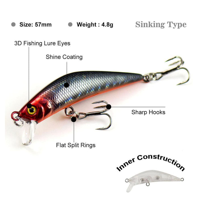 57Mm 4.8G Minnow Fishing Lures Hardbaits, Countbass Freshwater Crappie Fishing-countbass Official Store-Col 02-Bargain Bait Box