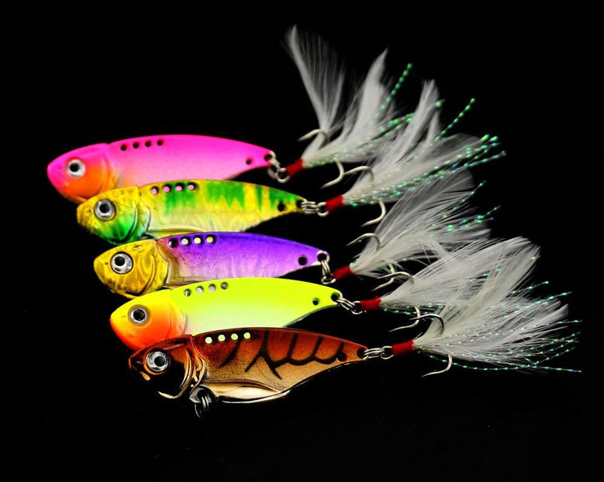5Pcs Metal Vib Bait Swimbait 5.5Cm 11G Fresh Shallow Feather Walleye Crappie-Blade Baits-Bargain Bait Box-Bargain Bait Box