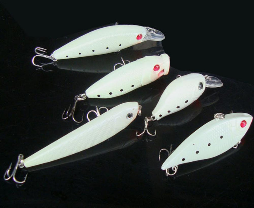 5Pcs Night Fishing Fish Glow Popper Minnow Pencil Lure Box Hook Baits Lots-Hard Bait Kits-Bargain Bait Box-Bargain Bait Box