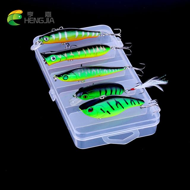 5Pcs Set Plastic Trout Minnow/Topwater Popper/Metal Vib/Pencil/ Frog-Hard Bait Kits-Bargain Bait Box-2-Bargain Bait Box