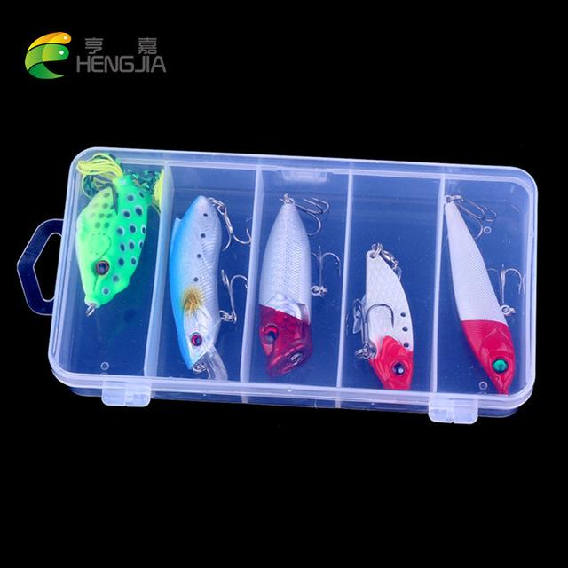5Pcs Set Plastic Trout Minnow/Topwater Popper/Metal Vib/Pencil/ Frog-Hard Bait Kits-Bargain Bait Box-3-Bargain Bait Box