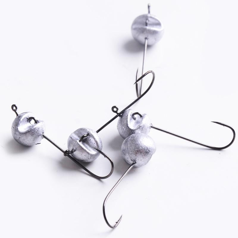 5Pcs/Lot 1.9G 2.4G 3.8G Fishing Hooks Lead Jig Head Hook For Soft Lure Carp-haofishing Store-White-Bargain Bait Box