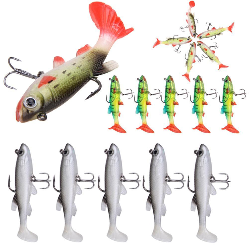 5Pcs/Lot 9Cm /14G 3D Eyes Lead Fishing Pvc Fishing Tail Soft With 2 Hooks-Soft Bait Kits-Bargain Bait Box-1-Bargain Bait Box