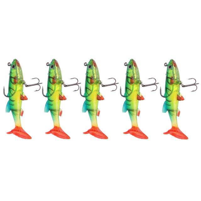 5Pcs/Lot 9Cm /14G 3D Eyes Lead Fishing Pvc Fishing Tail Soft With 2 Hooks-Soft Bait Kits-Bargain Bait Box-2-Bargain Bait Box