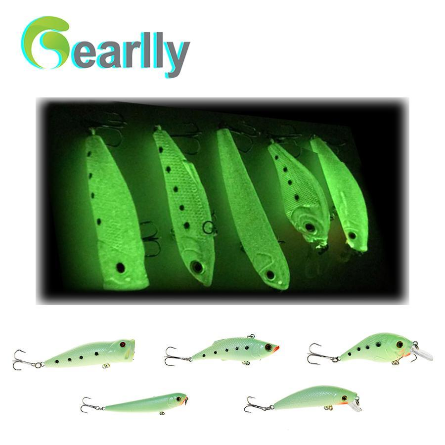 5Pcs/Lot Luminous Glowing Night Fishing Hard Lure Set Popper Crank Vib Pencil-Glow Baits-Bargain Bait Box-Bargain Bait Box