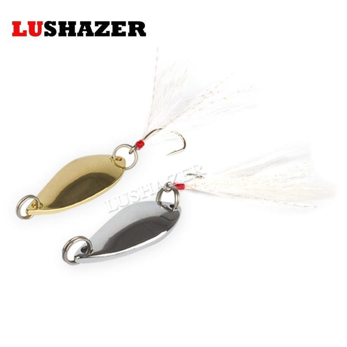5Pcs/Lot Lushazer 2.5G-5G Gold Silver Single Hook Spoon Lure Fly Lures Metal-LUSHAZER Official Store-silvery 2g-Bargain Bait Box