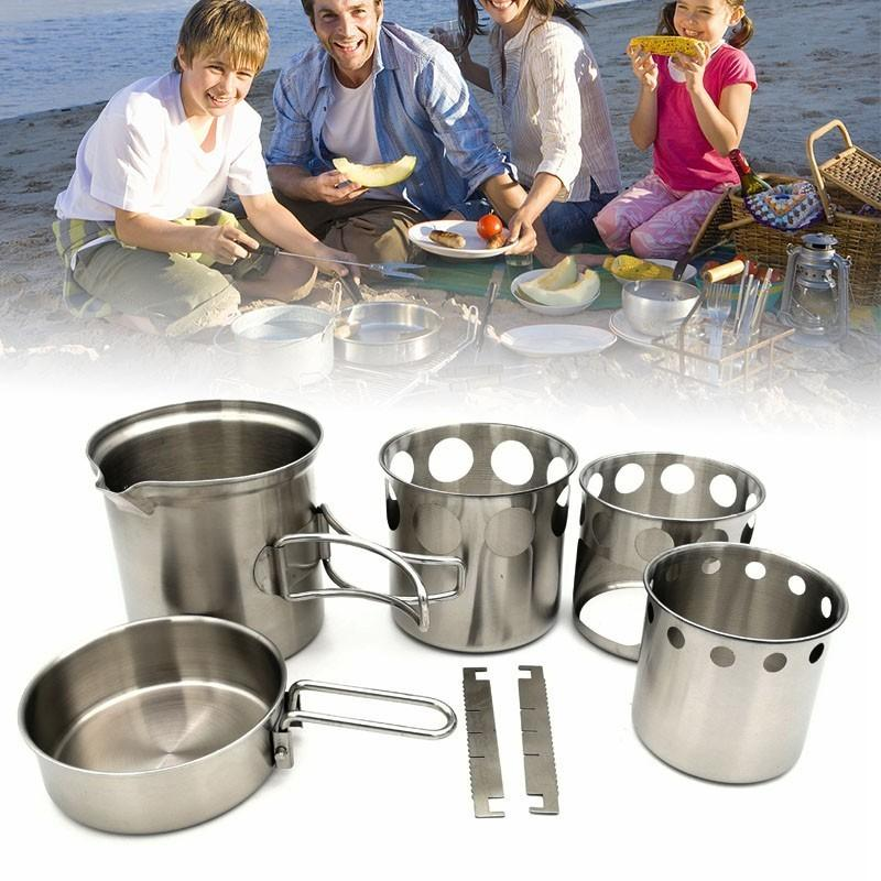 5Pcs/Lot Stainless Steel Portable Camping Stove Combo Wood Burning Stove And-Outdoor Stoves-Alpscamping Store-Green-Bargain Bait Box