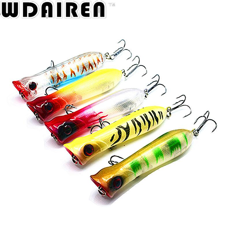 5Pcs/Set 3D Eyes Lifelike Hooks Fish Popper Lures Hard Bait Swimbait S-Top Water Baits-Bargain Bait Box-Bargain Bait Box