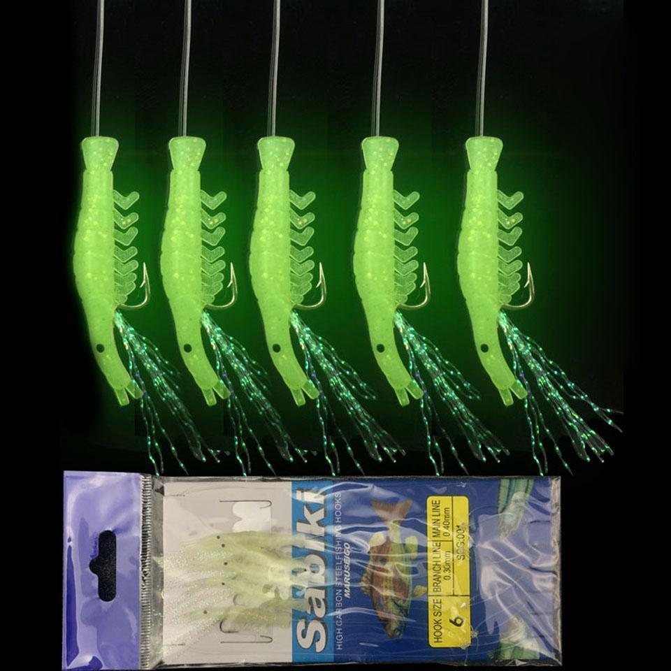 5Pcs/Set Luminous Shrimp Hook Fishing Lure Single Hook Tack Bait Jigs Hook-YPYC Sporting Store-1-Bargain Bait Box