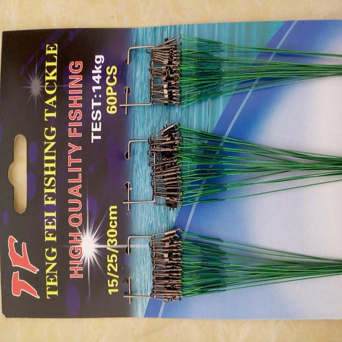 60 Pcs/Lot 15/25/30Cm Fishing Line Tackle Lure Trace Wire Leader With Swivel-Outside World Store-GREEN-Bargain Bait Box